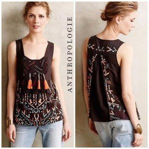Anthro Embroidered Top - Beads & tassels!